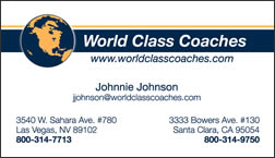 World Class Coaches business card