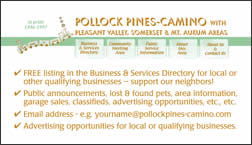 back of promotional business card for PollockPines-Camino.com