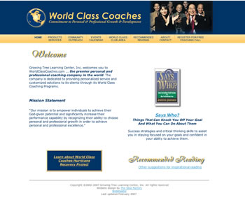 World Class Coaches website homepage